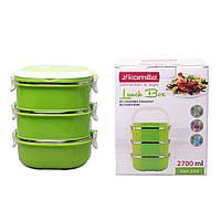Ланч бокс тройной Kamille Зеленый 2700мл для обедов из пластика и нержавеющей стали KM-2114