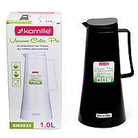 Термос Kamille Черный для чая и кофе на 1000мл пластиковый со стеклянной колбой KM-2025BL