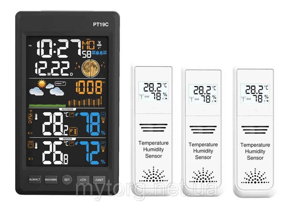 Метеостанция PT19C c барометром с 3 выносными датчиками 3 выносных датчика