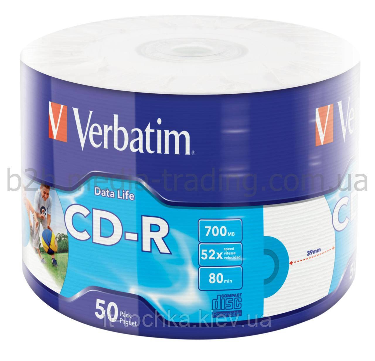 Аудио диски под печать verbatim cd-r 700 Мб 52x bulk 50 штук printable 43794