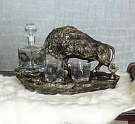 Штоф Бык набор для виски Гранд Презент ШП413 бронза, фото 1