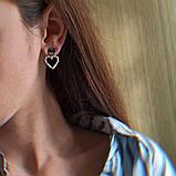 Серьги гвоздики сердечки BD-S14, фото 2