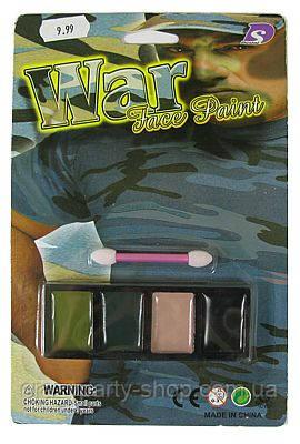 Фарби аквагрим 4 кольори зелений, беж, чорний, сірий