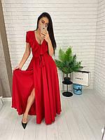 Длинное шелковое платье на запах