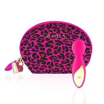 Мини вибромассажер Rianne S: Lovely Leopard Pink, 10 режимов работы, косметичка-чехол, мед.силикон