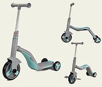 Дитячий самокат 3 в 1 велобіг від-велосипед для дітей від 3-х років SC20112 зі звуком і світлом, бірюзовий
