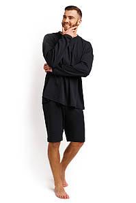 Пижама мужская (лонгслив и шорты) графитовый M-XL