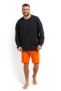 Пижама мужская (лонгслив и шорты) графитовый с оранжевым M-XL