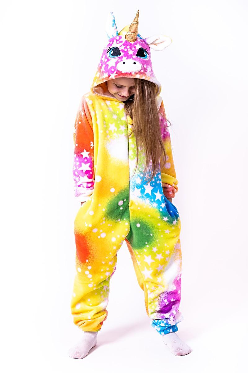 Кигуруми детский и подростковый Единорог цвет радуги со звездами
