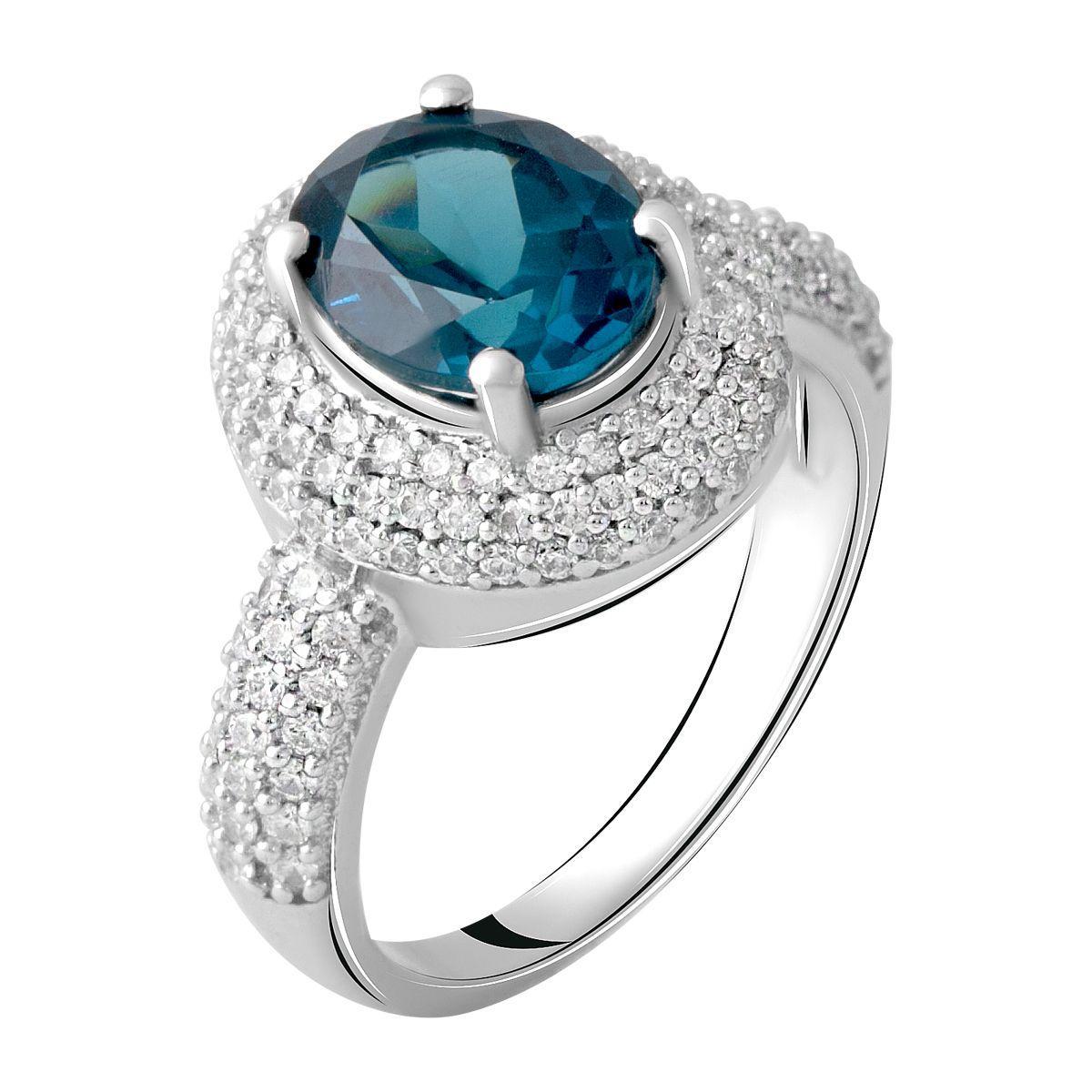 Серебряное кольцо DreamJewelry с натуральным топазом Лондон Блю 3.957ct (0700922) 19 размер