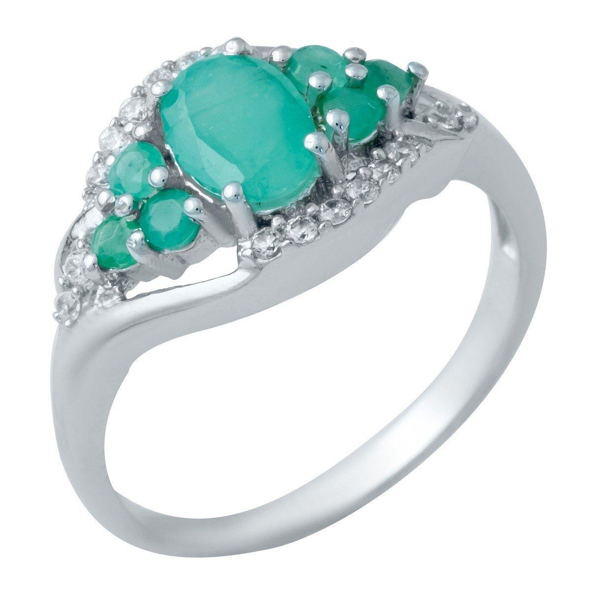 Серебряное кольцо DreamJewelry с натуральным изумрудом 1.19ct (1940679) 18.5 размер