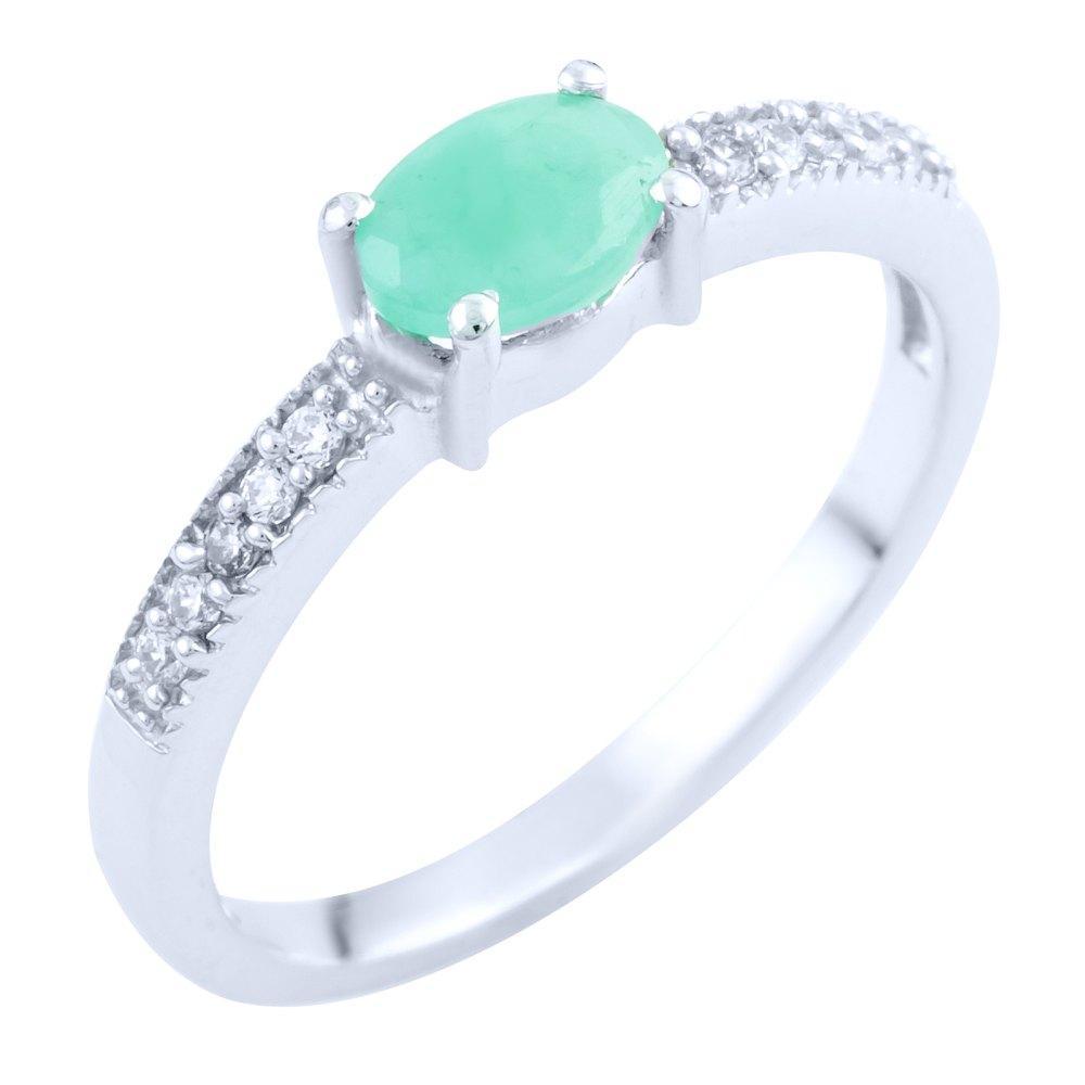 Серебряное кольцо DreamJewelry с натуральным изумрудом (1762943) 17.5 размер