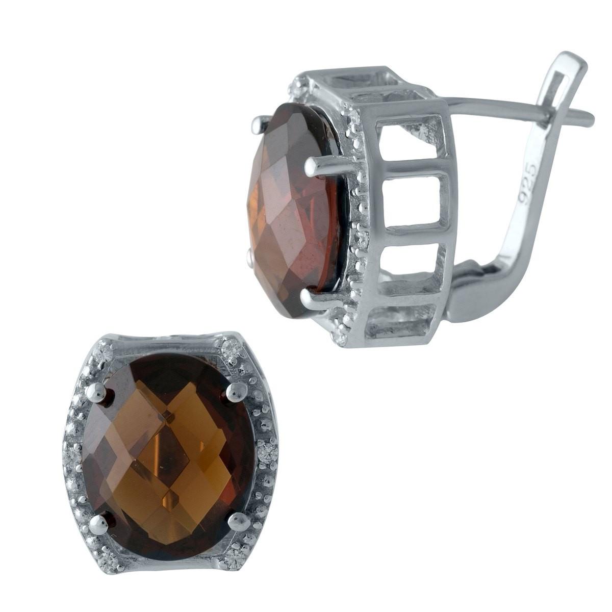Серебряные серьги DreamJewelry с натуральным гранатом (1996713)
