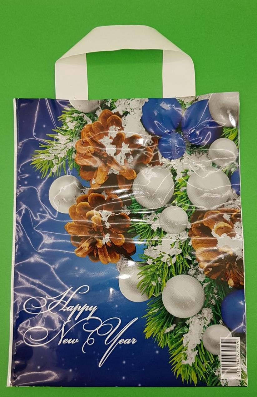 """Пакет ламинированый спетлевой ручкой .м """"Новогодние шишки""""  (23х29) 50мк  (50 шт)"""