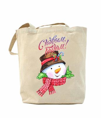 Эко-сумка, шоппер с принтом повседневная Снеговик новый год