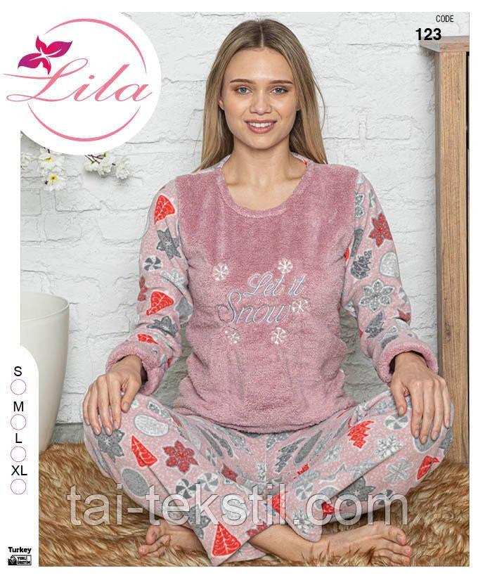 Пижама женская махра софт+флис хорошее качество Турция S-M-L-XL 1582