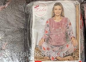 Пижама женская махра софт+флис хорошее качество Турция S-M-L-XL 1582, фото 2