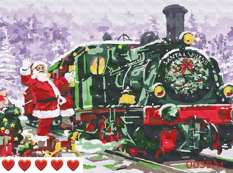 Картина по номерам (рисование по цифрам, живопись) 0039Л1 (Санта Клаус)