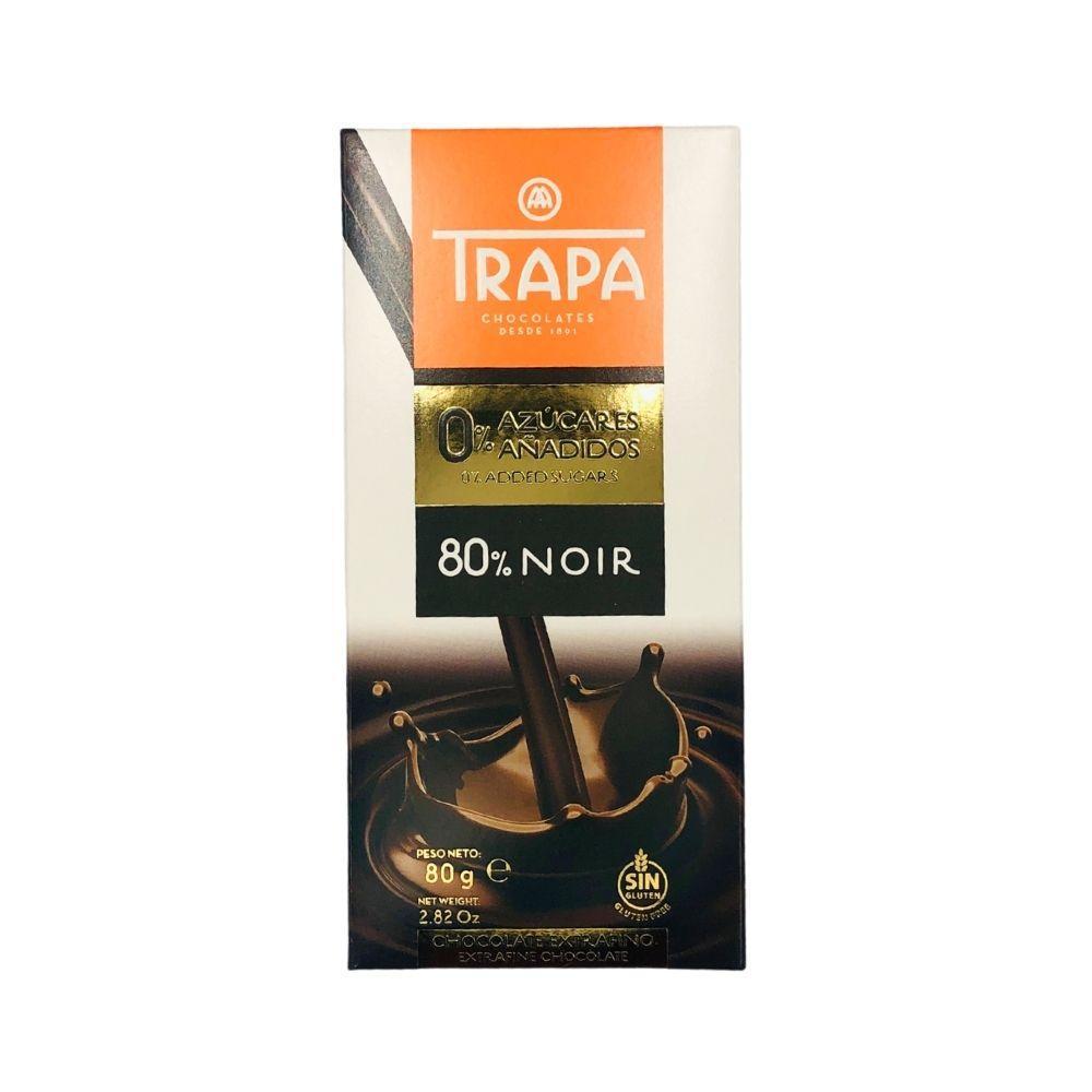 Шоколад  80г без цукру TRAPA 0% чорний 80% 15 шт/ящ 023451