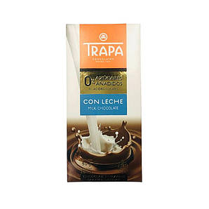 Шоколад 80г без цукру TRAPA 0% молочний 15 шт/ящ 023450