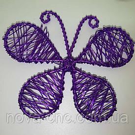 "Декор проволока ""Бабочка""  Цвет фиолетовый 70 х 68 мм"