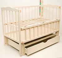 """Детская кроватка деревянная с ящиком """"Малятко"""" слоновая кость"""