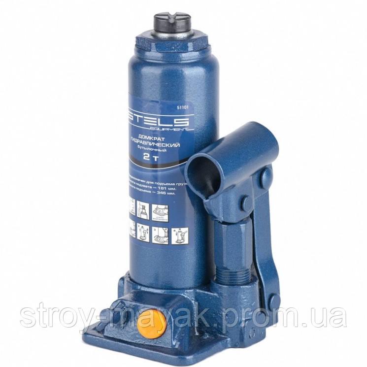 Домкрат гидравлический бутылочный, 2 т, h подъема 181-345 мм, STELS