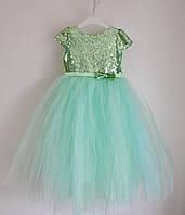 Нарядное детское платье для девочек 4-5 лет, пышное с фатиновой юбкой, мятное, фото 1