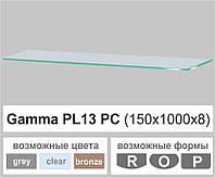Стеклянная полка прямоугольная Commus PL13 PC (150х1000х8мм), фото 1