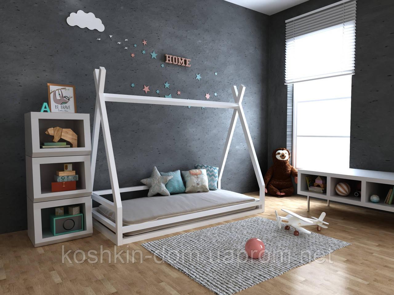 Ліжко будиночок Анетти натуральне дерево