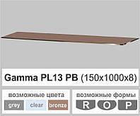 Стеклянная полка прямоугольная Commus PL13 PB (150х1000х8мм), фото 1