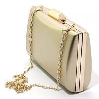 Маленькая женская вечерняя сумка-клатч на цепочке бокс золотистый выпускной 6988 gol, фото 1