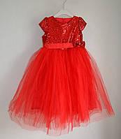 Нарядное детское платье для девочек 4-5 лет, пышное с фатиновой юбкой, красное, фото 1