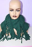 Красивый женский длинный шарф вязаный зеленый