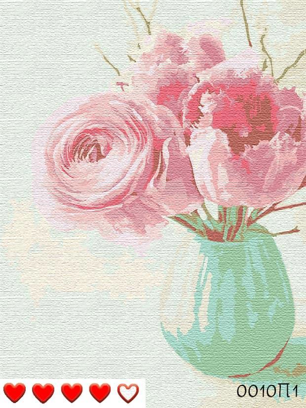 Картина по номерам (рисование по цифрам, живопись) 0010П1 (Пионы в вазе)
