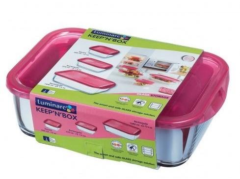 Емкость прямоугольная стеклянная Luminarc Keep`n`box 380мл с пластиковой малиновой крышкой