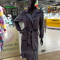 Халат жіночий велюр, темно синього кольору Tokyo. ТМ Komilfo. S. M. XL. XXL