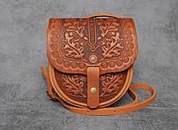 Кожаная женская сумка `Дубок`, сумка через плечо, мини сумочка, рыжая сумка, фото 1