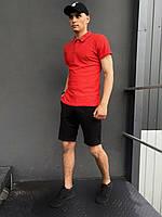 ПОДАРОК!!! Костюм Intruder LaCosta летний красно - черный Мужская футболка поло+Мужские шорты трикотажные