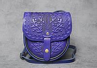 Кожаная женская сумка `Дубок`, сумка через плечо, мини сумочка, ультрамариновая сумка, фото 1