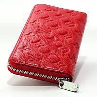 Красный женский кожаный кошелек на змейке lv-1833 red, фото 1