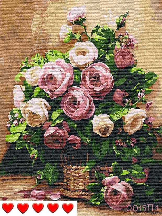 Картина по номерам (рисование по цифрам, живопись) 0015П1 (Розы)