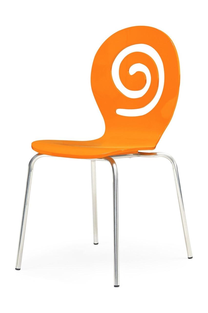 Стул штабелируемый барный Лев SDM, гнутая фанера, ножки -металл, цвет оранжевый
