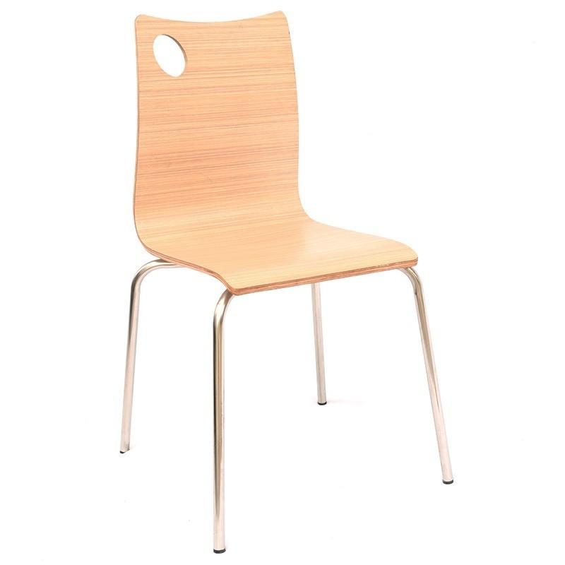 Штабелируемый стул Хорека-WB  SDM, фанера, ножки -нержавейка,  цвет натуральное дерево