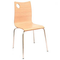 Штабелируемый стул Хорека-WB  SDM, фанера, ножки -нержавейка,  цвет натуральное дерево, фото 1