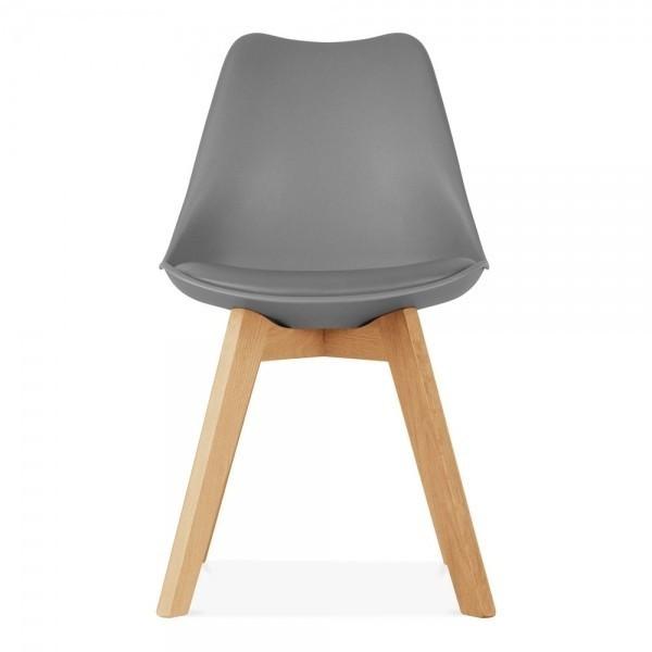 Стілець барний Тор SDM, пластик, подушка м'яка кожзам, ніжки дерев'яні бук, колір сірий