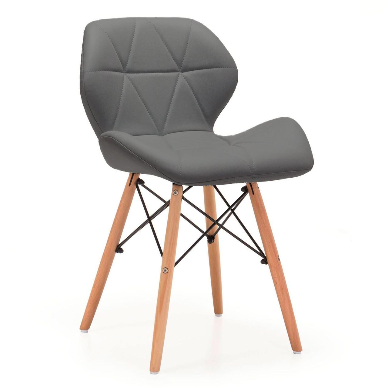 Стул Стар SDM, ножки деревянные, экокожа серого цвета