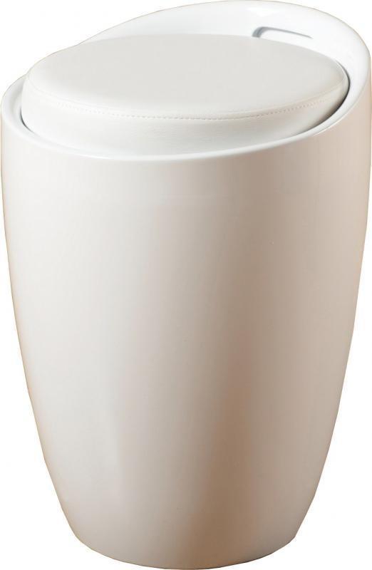 Пуф дизайнерский Мари SDM, пластиковый, съемная подушка, кожзам, цвет белый