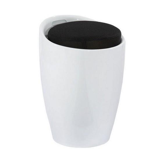 Пуф дизайнерский Мари SDM, пластиковый, цвет белый , съемная подушка, кожзам - черная