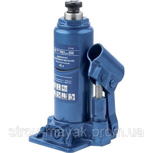 Домкрат гидравлический бутылочный, 4 т, h подъема 194-372 мм, STELS